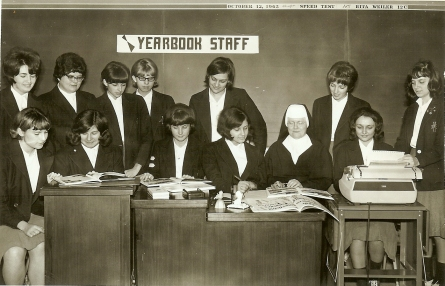 Sister Marie Lackenbauer, SSND, Taught commercial/business at high schools in Kitchener/Cambridge. Local offices asked for her students as employees. She had charge of yearbook at St. Mary's High, Kitchener. Photo Credit: The School Sisters of Notre Dame, Hamilton