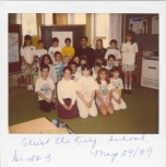 Bishop Tonnos with the Grade Two/Three Class at Christ the King School, May 29, 1989, (B8P.002.001)