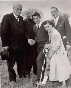 Photograph of Bishop Ryan, Mayor Lloyd Jackson, T.J. McKenna, Frank Dessot, and Helen Johnson at ground breaking ceremony for Bishop Ryan High School, Hamilton, 1958, (DHA.001.353)