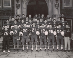 Black and white photograph of The Cathedral Boys High School Football Team. It depicts the 1954 Senior Inter-Scholastic Champion team, 1954, (DHA.001.596)