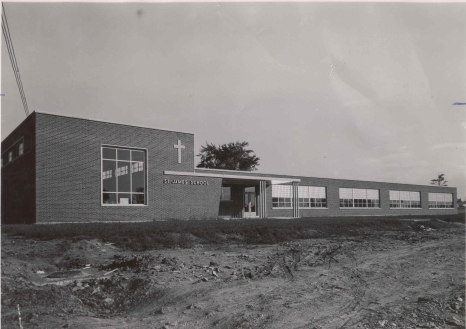 Photograph of St. James' School Catholic Elementary School, Hamilton, [195-?], Photo Credit: Joseph Bochsler, (DHA.001.616)