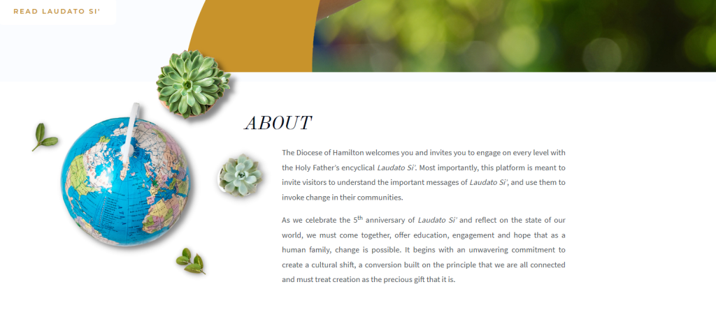 Screenshot of the Diocese of Hamilton's Laudato Si Website